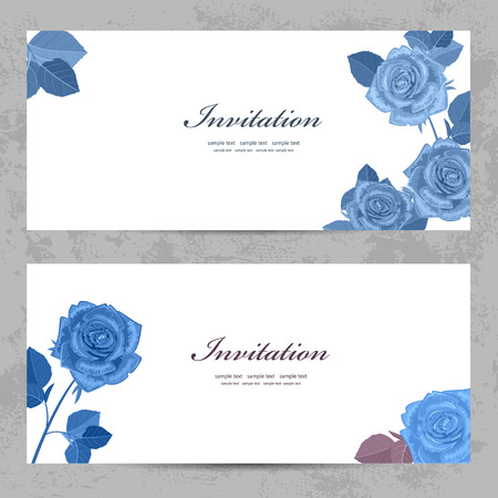 fashion collection greeting cards with blue roses for your design