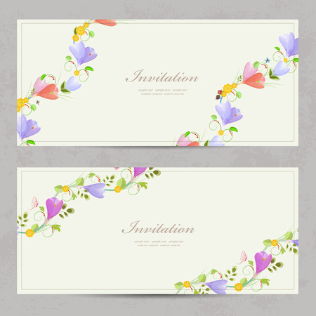 crocus: cute collection invitation cards with crocus for your design.