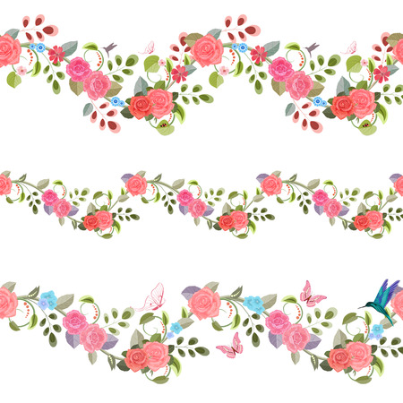 vintage rose: collection seamless borders with vintage floral pattern