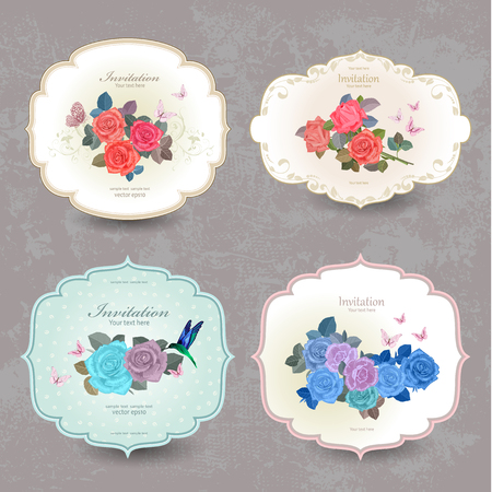 pink rose: fashion collection vintage cards with blue roses for your design