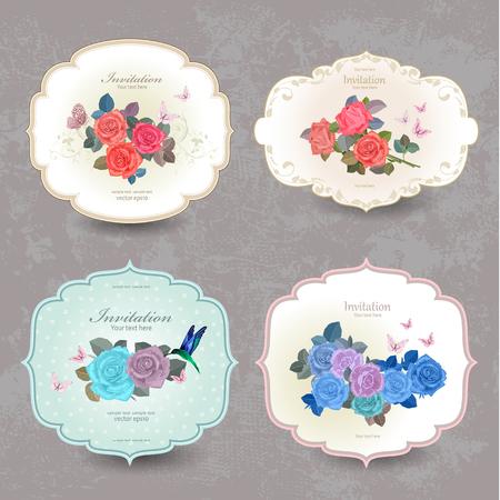 mode collectie vintage kaarten met blauwe rozen voor uw ontwerp Vector Illustratie