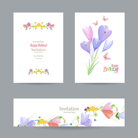 crocus: collection invitation cards with crocus for your design. happy birthday Illustration