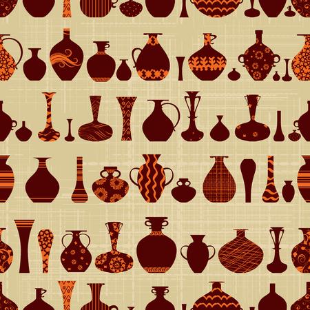 vasi greci: seamless texture con fila di vasi di varietà etniche su sfondo canva