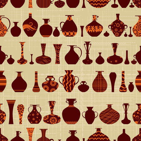 canva: seamless texture with row of variety ethnic vases on canva background