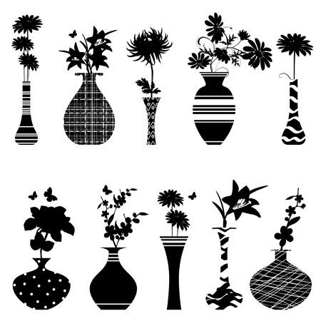 collectie handgemaakte vazen met bloemen voor uw ontwerp