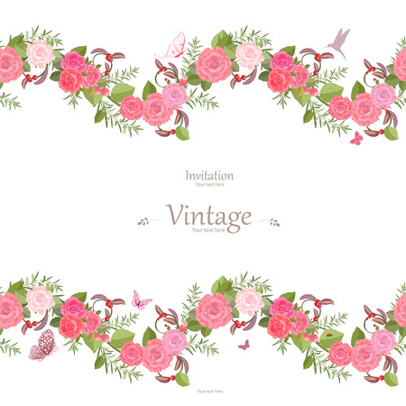 green butterfly: seamless border of lovely roses and butterflies for your design. vintage invitation card Illustration