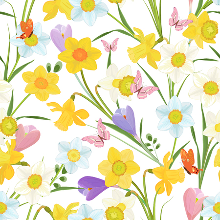 cute seamless texture with spring flowers