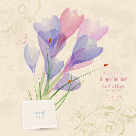 retro flowers: retro invitation card with spring flowers for your design. thank you. Illustration