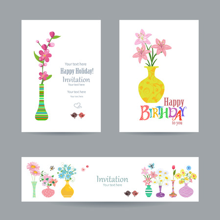 cute collection invitation cards with flowers in vases for your design. happy birthday