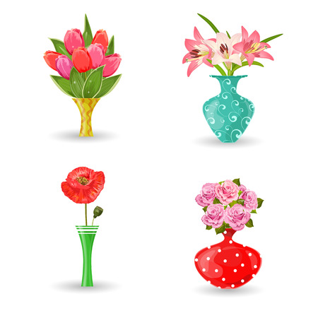 romantic collection of modern vases with flowers for your design