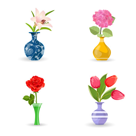 vases: collection of modern vases with beautiful flowers for your design Illustration