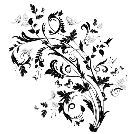 butterflies abstract: abstract floral pattern with butterflies and bird Illustration