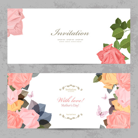 fashion collection: fashion collection greeting cards with blossom of roses for your design