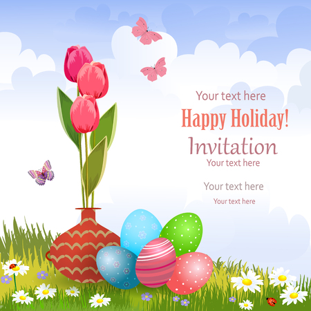 pottery: invitation card with vase of tulips and colorful eggs on a meadow Illustration