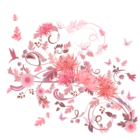 pink swirl: pink swirl of flowers for your design.