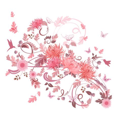 borde de flores: remolino rosado de flores para su diseño.