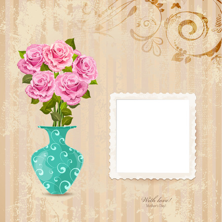 vintage greeting card with vase of roses on a old paper with Retro photo frame for your design