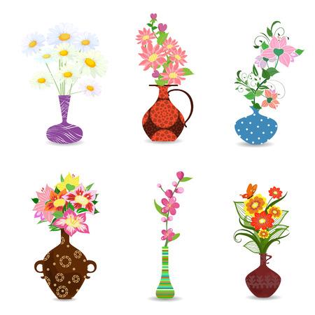colección de ramo de flores en el florero para su diseño