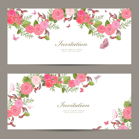 elegant template: lovely collection horizontal banners with vintage floral pattern for your design
