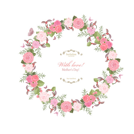 floral wreath: cute floral wreath with lovely roses for your design