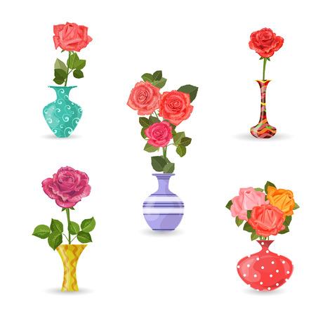 collectie van bloemen vazen met rozen voor uw ontwerp