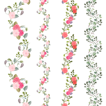 lovely collection seamless borders with vintage floral pattern for your design