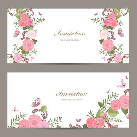 Sammlung Einladungskarten mit Blüten von Rosen für Ihr Design Vektorgrafik