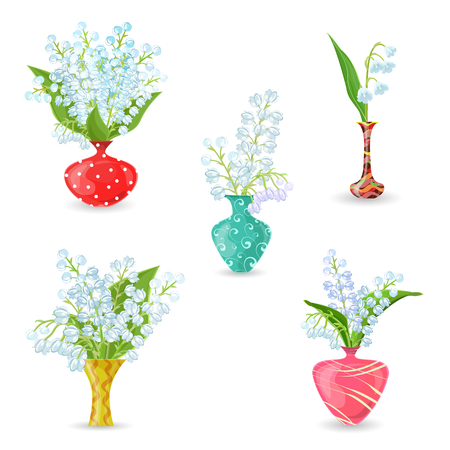 white lilly: cute collection vases with bouquets of small spring flowers. Lilies Of The Valley for your design