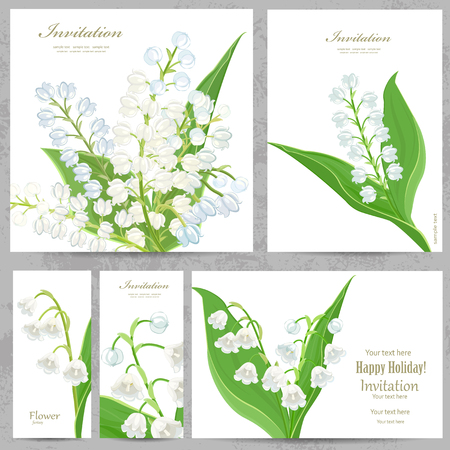 lily flowers set: invitation cards with lovely lilies of the valley for your design Illustration