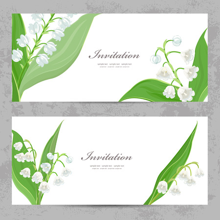 invitation cards with fine lilies of the valley for your design