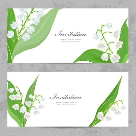 flor de lis: tarjetas de invitación con lirios del valle finas para su diseño Vectores