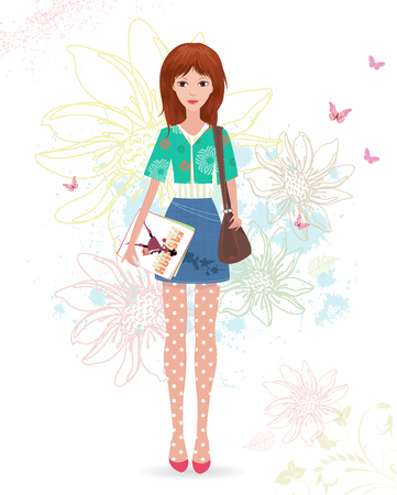 vintage paper: fashion girl with magazines on sketch floral background