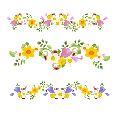 flower decoration: collection banners. spring flowers for your design Illustration