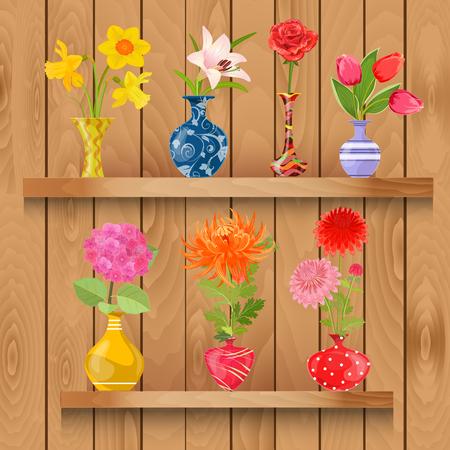 Houten planken met verzameling glazen vazen met mooie bloemen voor uw ontwerp