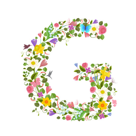 ornate capital letter font consisting of the spring flowers and flying hummingbirds. floral letter g