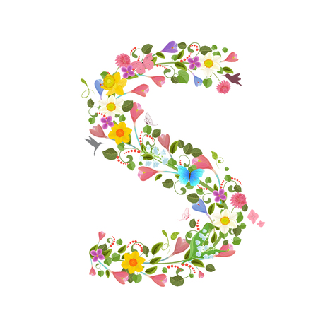 letter: ornate capital letter font consisting of the spring flowers and flying hummingbirds. floral letter s