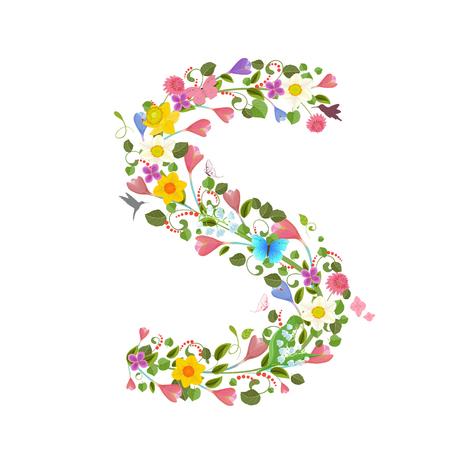 sierlijke hoofdletter lettertype dat bestaat uit de lentebloemen en vliegende kolibries. floral letter s Vector Illustratie