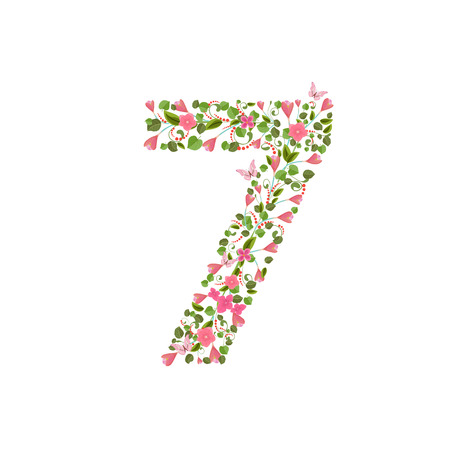 number seven: Floral font with spring pink flowers. Romantic number seven