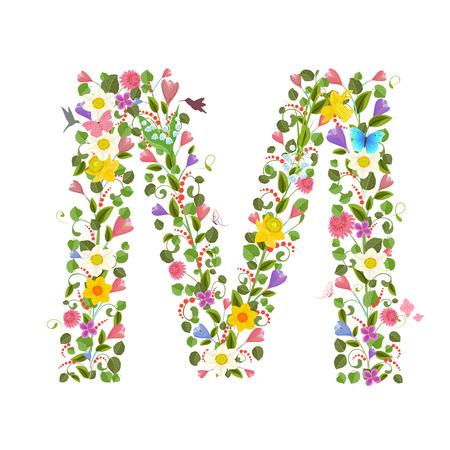 Capital de la letra ornamentada que consiste en las flores de primavera y colibríes volando. floral letra m Ilustración de vector