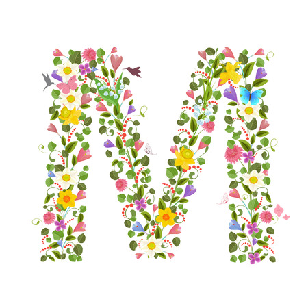 ornate capital letter font consisting of the spring flowers and flying hummingbirds. floral letter m
