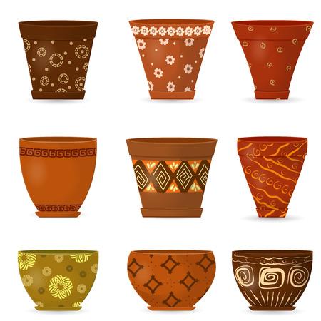greek pot: raccolta decorativo di ceramica vaso di fiori per la progettazione. Vettoriali
