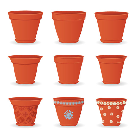 flowerpots: collection of empty flowerpots for your design