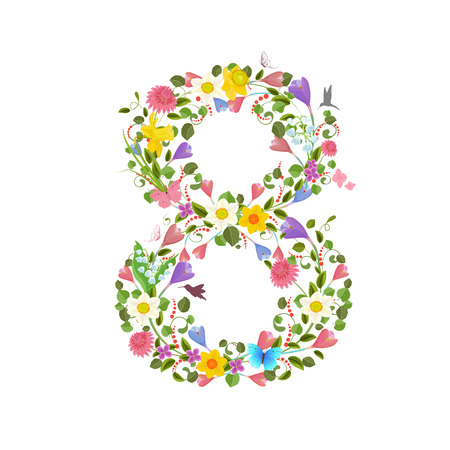 consisting: ornate font consisting of the spring flowers and flying hummingbirds. floral number eight Illustration