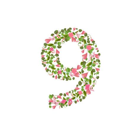 numero nueve: Fuente floral de primavera con flores de color rosa. número nueve romántica