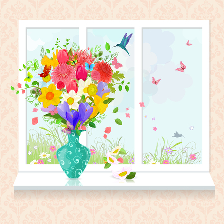 flowers in vase: glass vase with arrangement of fresh flowers on windowsill for your design