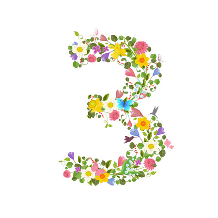 consisting: ornate font consisting of the spring flowers and flying hummingbirds. floral number three Illustration