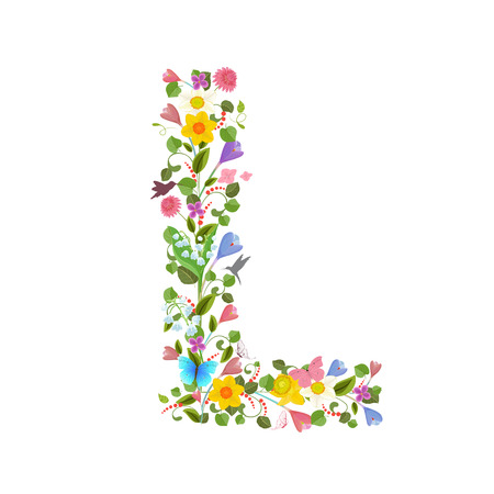 ornate capital letter font consisting of the spring flowers and flying hummingbirds. floral letter l