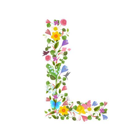 sierlijke hoofdletter lettertype dat bestaat uit de lentebloemen en vliegende kolibries. floral letter l