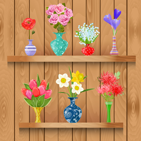 wooden shelves: Wooden shelves  with collection of modern vases with lovely flowers for your design