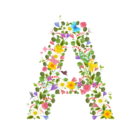 ornate capital letter font consisting of the spring flowers and flying hummingbirds. floral letter a